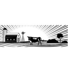 Farm barn with windmill and cow on countryside vector