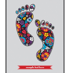 Floral composition on the feetprint vector image