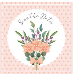 flowers bouquet ornament wedding save the date vector image