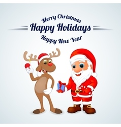 Funny happy cartoon Christmas Reindeer with Santa vector