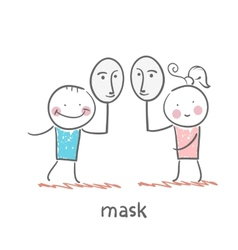 Girl and boy holding a mask vector