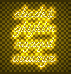 Glowing yellow neon lowercase script font vector