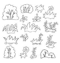 Grass and flowers cartoon coloring book for kids vector image