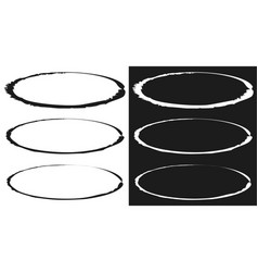 Grungy circle element set - circles with smudged vector