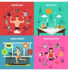 Gym Flat Set vector image