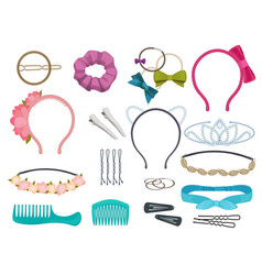 Hair accessories woman hair items stylist salon vector
