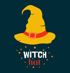 halloween with witch hat and lettering vector image