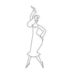 hand drawn dancing woman vector image