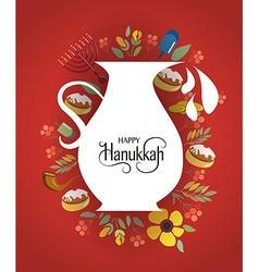 Hand sketched Happy Hanukkah logotype badge and vector