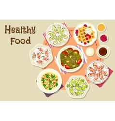 Healthy food for lunch menu icon design vector