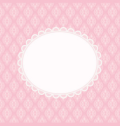 invitation card on pink damask background vector image