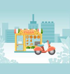 italian pizzeria urban street kiosk shop place vector image
