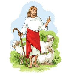 Jesus is a good shepherd vector