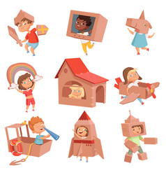 kids cardboard costumes children playing in vector image