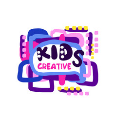 kids creative logo design colorful hand drawn vector image