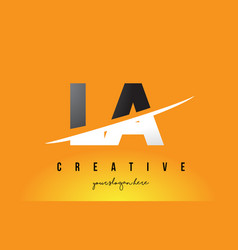 la l a letter modern logo design with yellow vector image