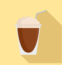latte plastic cup icon flat style vector image