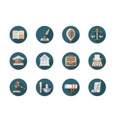 Law firm flat round icons set vector