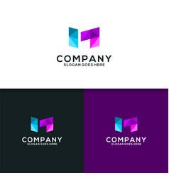 letter m technology logo vector image