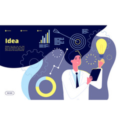 light bulb idea man holding glowing lightbulb vector image
