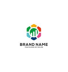 Logo design growth line for financial vector