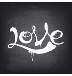 Love text design Hand drawn word on blackboard vector