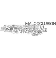 Malocclusion word cloud concept vector