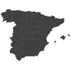 Map of spain split into regions vector