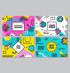 memphis banners abstract geometric background vector image