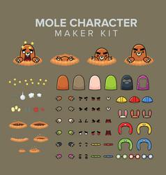 Mole character maker kit vector