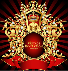 Noble background with golden pattern and crown vector