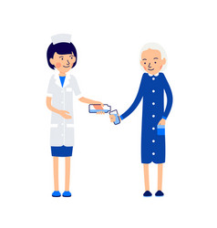 nurse pours medication from medical bottle into vector image