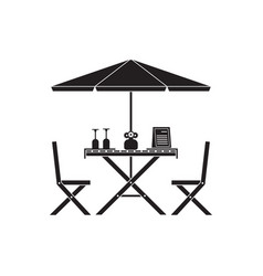 Outdoor table and chairs in outline design vector