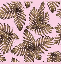 Palm monstera exotic seamless pattern vector