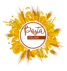 pasta italian food and meals isolated wheat flour vector image