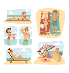 People on the sand beach fun vacation happy time vector