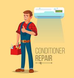 Professional air conditioner repair man vector