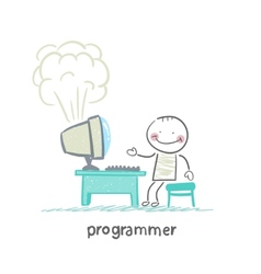 programmer stands next to a computer that explodes vector image