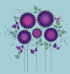 Purple geometric folk chrysanthemum poster vector