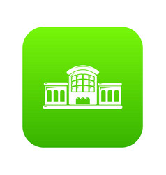 railway station icon green vector image