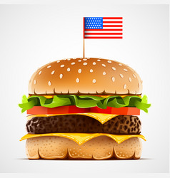 realistic hamburger with cheese lettuce and tomato vector image