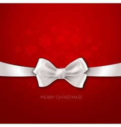 Red Christmas background with white silk bow vector image