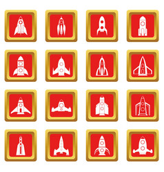 Rocket icons set red vector