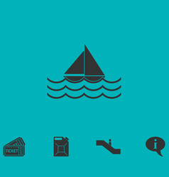 Sailboat icon flat vector