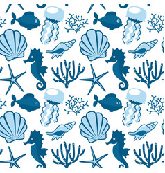 seamless pattern with marine animals underwater vector image