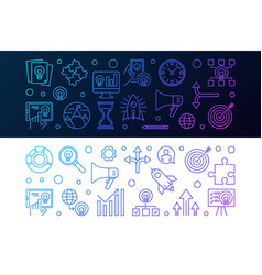 set 2 startup colored horizontal banners in vector image