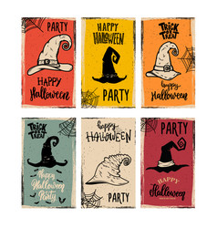 Set flyers template halloween party witch vector