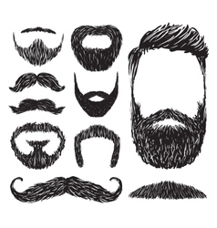 Set mustache and beard silhouettes vector