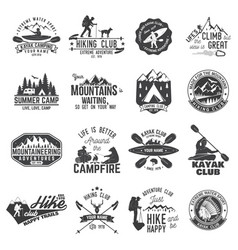 set of canoe hiking kayak and camping club badge vector image