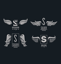 set of silver wings emblems vector image